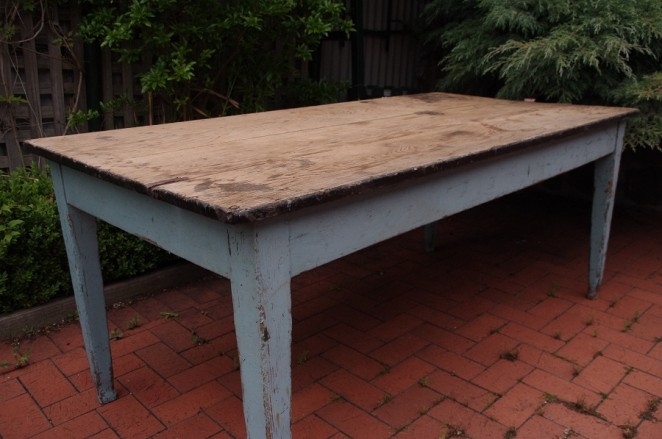 C1900 blue kitchen farmhouse table stalking cat for 12 person farmhouse table