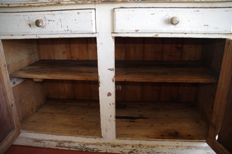 1880′s Rustic White Painted Pine 2 Drawer Sideboard, Ex