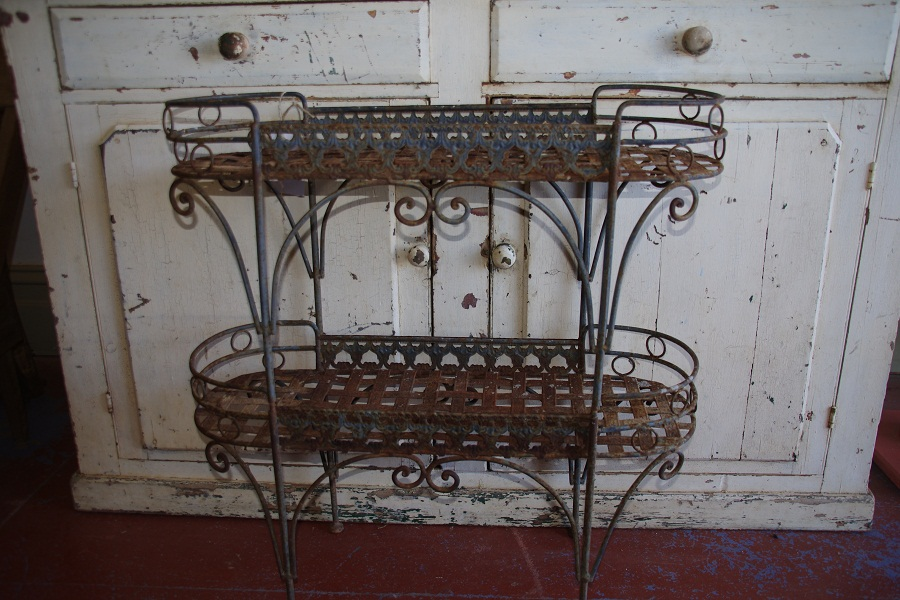 8cb667c447d3 beautiful rustic old metal two tiered plant stand | Stalking Cat ...