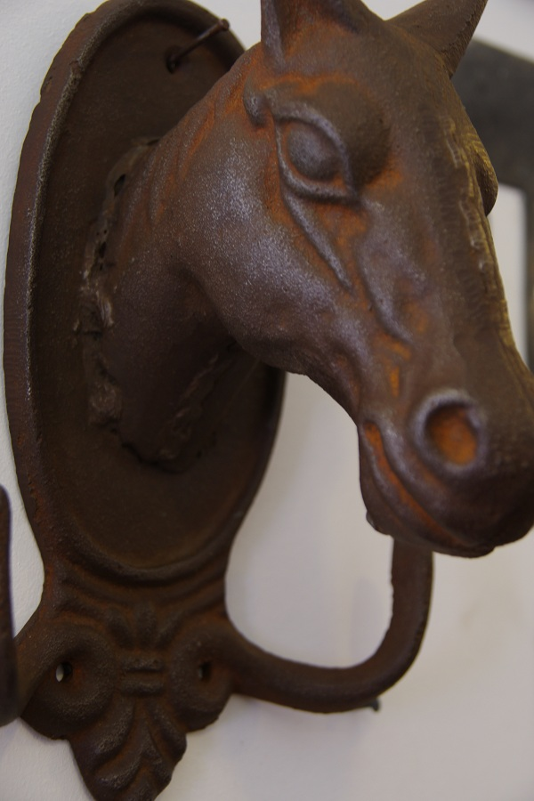 Cast Iron Horse Head Coat Hook Stalking Cat Antiques